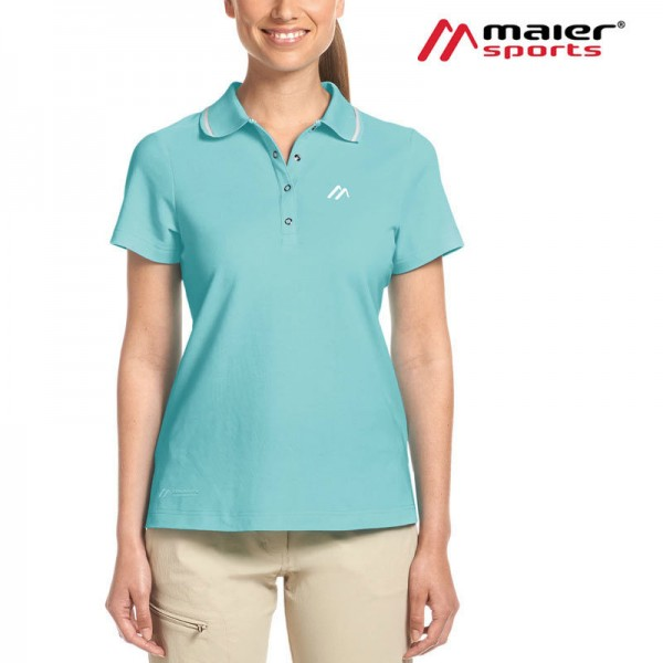 Maier Sports Comfort Polo-Shirt Damen blue radiance