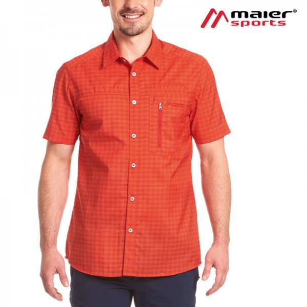 Maier Sports Mats S/S Herren Hemd orange check