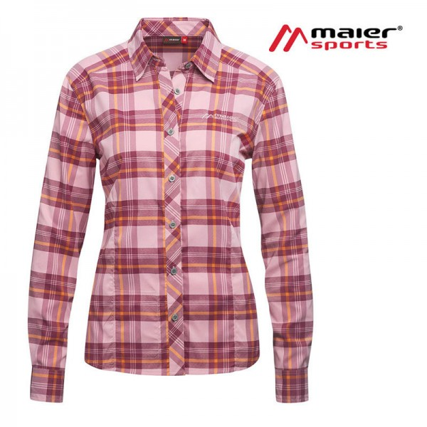 Maier Sports Sana Funktionsbluse Damen lilac/orange check