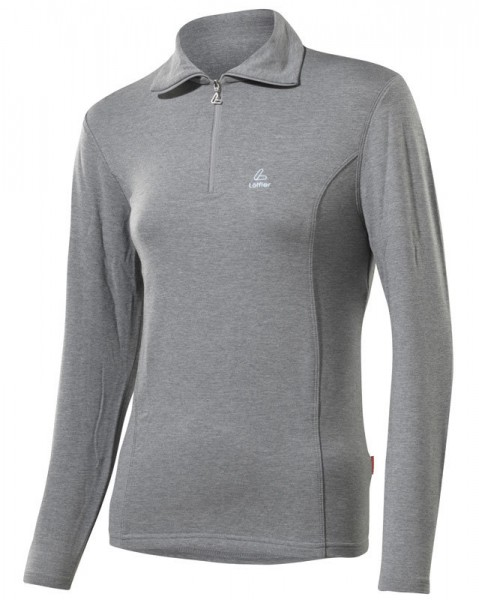 Löffler Damen Transtex®-warm Zip-Rolli Basic grau melé