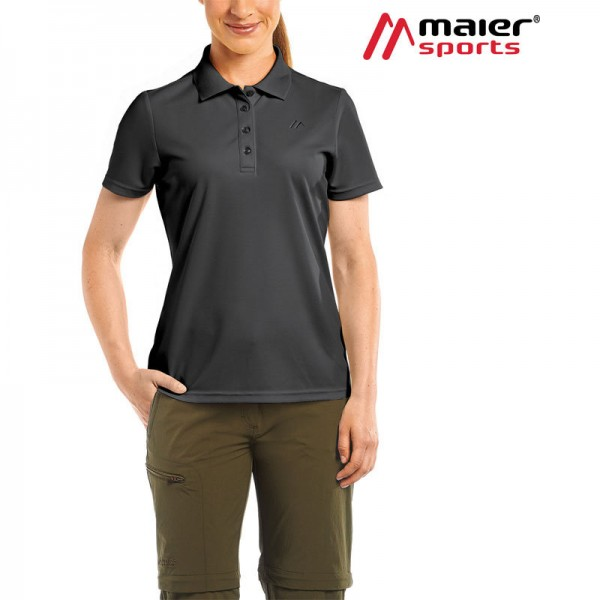 Maier Sports Ulrike Funktionspolo-Shirt Damen black