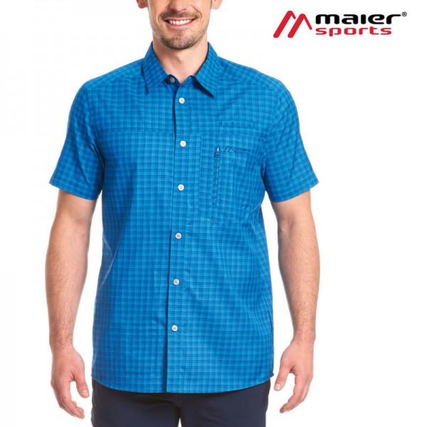 Maier Sports Mats S/S Herren Hemd blue check 2