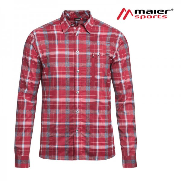 Maier Sports Mats L/S Herren Hemd red/anthra check